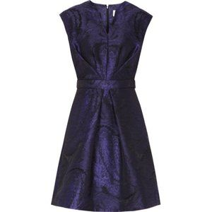 REISS Purple Evie Nipped Waist Jacquard Dress